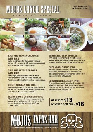 Mojo's Tapas Bar: Mojo's new lunch menu