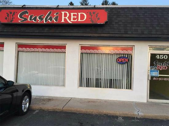 Sushi Red: The Streetview of the Restaurant. Not the fanciest place but the food is fine.