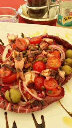 Octopus salad and grilled seabass