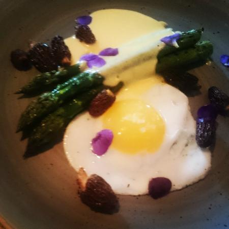 The Alice Hawthorn: Fried duck egg, asparagus & morels