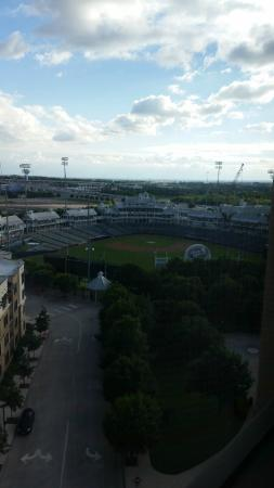 View of Dr. Pepper stadium from my room