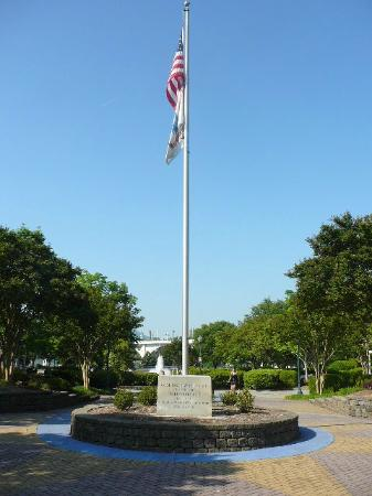 Old Glory at Dedication Plaque @ Coolidge Park