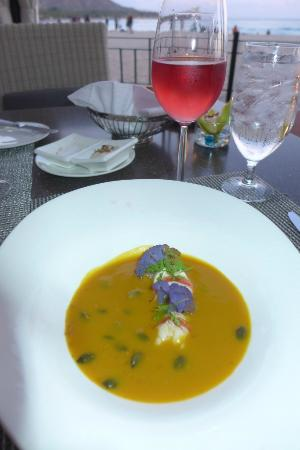 Azure Restaurant: Squash lobster soup second course