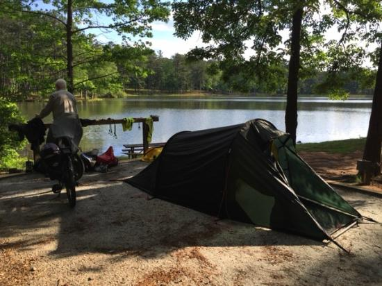 F. D. Roosevelt State Park Hilleberg tent/bikes/husband and lake view & Hilleberg tent/bikes/husband and lake view - Picture of F. D. ...