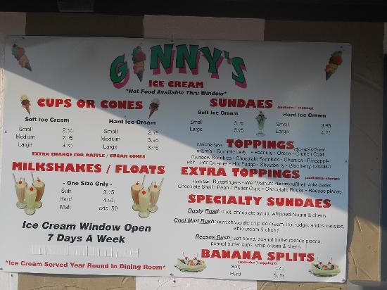 Ginny's Cafe: Ice cream menu!