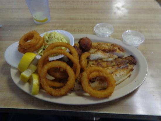 Taylor's Escape: Grilled Cajun catfish, hushpuppies, mustard slaw, onion rings.