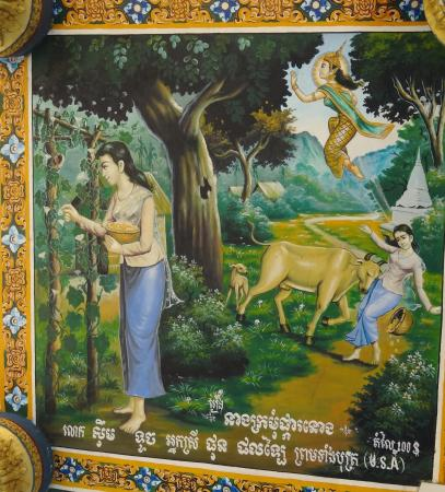 Ek Phnom: One of the many murals under the eaves of the temple