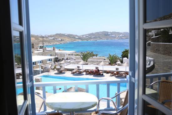 Balcony - Manoulas Mykonos Beach Resort: Double Bedroom with Seaview