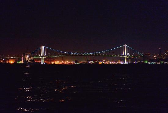 Tokyo Bay Yakatabune Boat: レインボーブリッヂをくぐります。