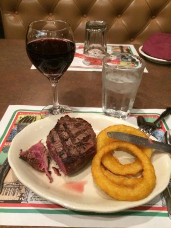 Vona's Restaurant: Red italian wine (Chianti), tenderloin grilled And onion rings