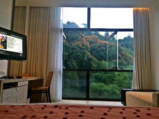 Padma Hotel Bandung: View from the bed (hillside studio)