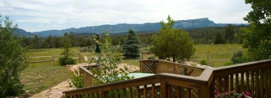 Flagstone Meadows Ranch Bed and Breakfast: partial view from the deck..