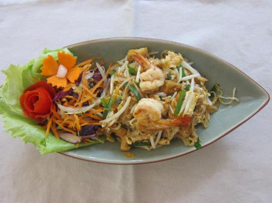 "Seven Senses Restaurant: 'Pad Thai"" thin rice noodle fried with tofu."