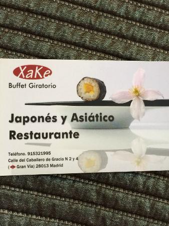Xake: cartão do restaurante