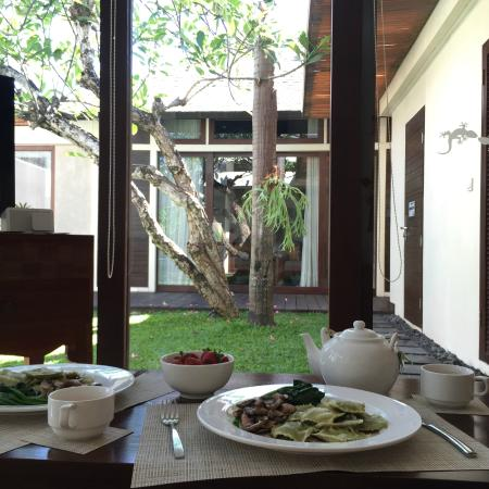 Cooked our own lunch and enjoying with view inside Villa!