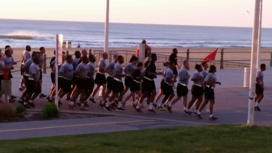 Capes Hotel: I loved the pride in the military cadence as they jogged down the boardwalk with the beautiful s