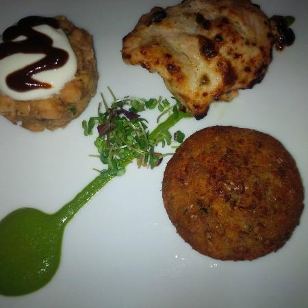 Zaika: tasting menu appetizer chicken, chick pea, potato pancake