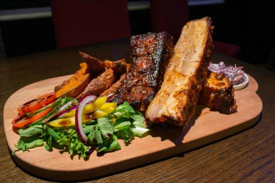 The George: Slow cooked barbeque pork belly ribs