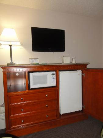Rodeway Inn & Suites: Flat screen tv, and new refrig which is fitted inside the armoire.
