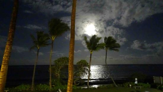 Kapaa Shores: Full moon shining through our window!
