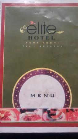 Elite Hotel : menu