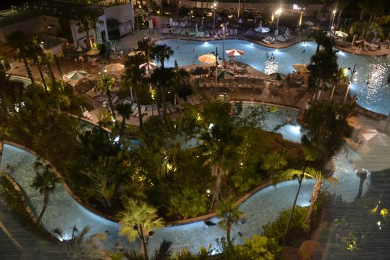 Universal S Cabana Bay Beach Resort Lazy River Pool During Sunset Movie Time