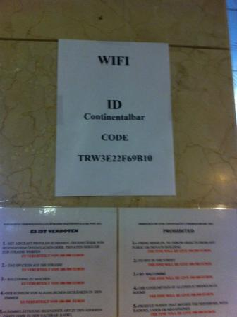 Hotel Continental: Код от Wi-Fi