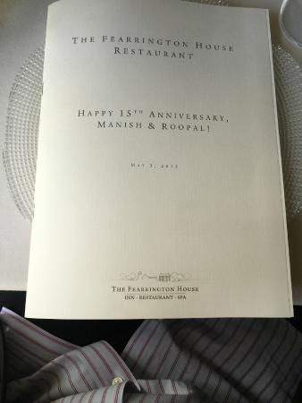The Fearrington House Restaurant: Complimentary personalized menu for us to keep