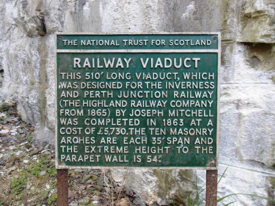 Pitlochry, UK: Killiecrankie Viaduct : Vintage Information Plaque : April 2015