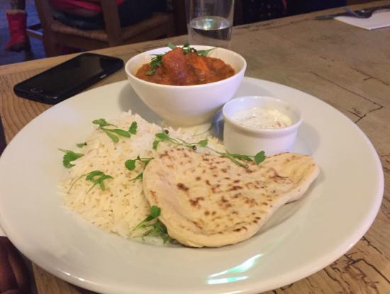 The Crown: Puy lentil, chick pea & sweet potato curry with coriander rice, naan bread & raita