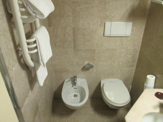 Hotel Bassetto: Plenty of room and towels on a warmer.