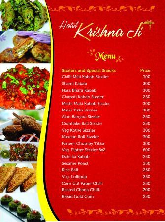 MENU - Picture of krishnaji restaurant, Haridwar - TripAdvisor