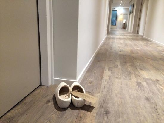 Wooden Shoes Placed In From Of The Door Act As A Do Not Disturb
