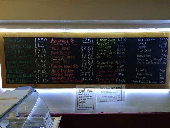 Middleton In Teesdale Fish and Chip Shop: Menu