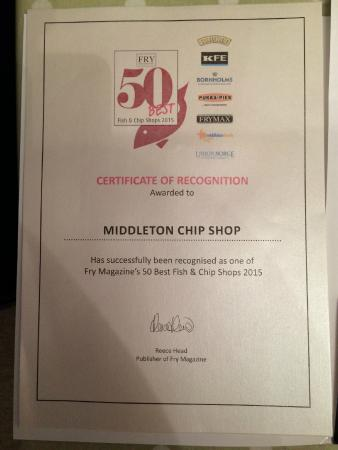 Middleton In Teesdale Fish and Chip Shop: Were in the 50 Best!