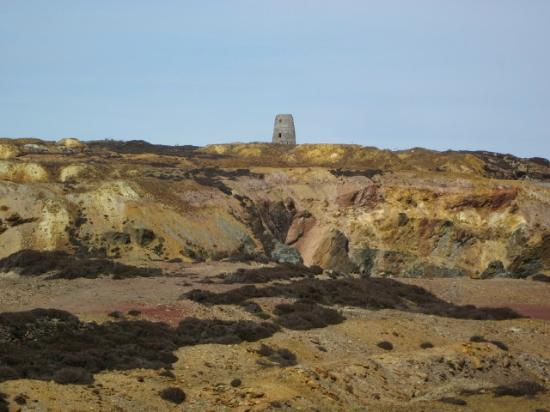 Amlwch, UK: Parys Mountain - with remains of windmill