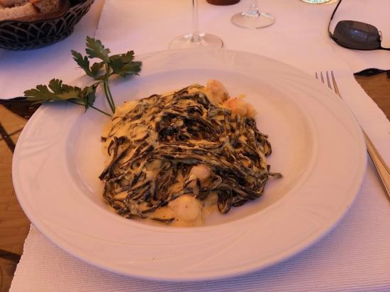 Aubergine: Pasta al Nero di Seppia with carbonara sauce