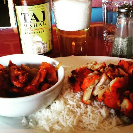 Himalayan Cuisine: chicken chilli and chicken kabob, with a Taj Mahal lager beer, delicious.