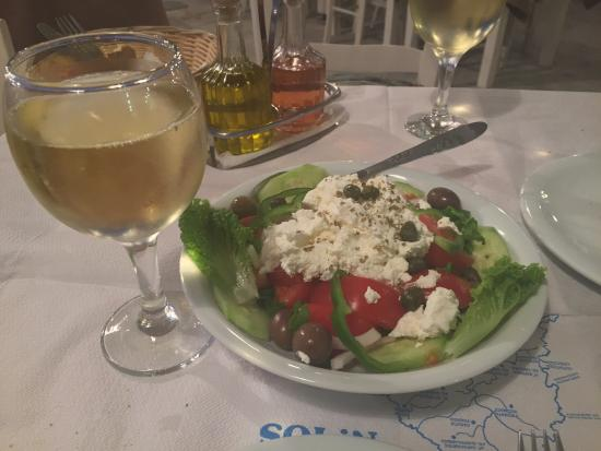Sousana's: Greek salad with local chesse (it's not feta, it's a soft and fresh - probably goat - cheese)