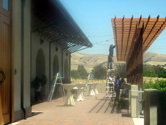 Putting Lights Up for a Wedding, Garre Vineyard & Winery, Livermore, Ca