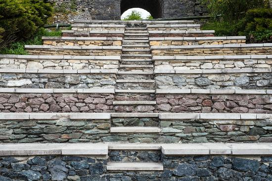 Wirksworth, UK: Geosteps, made using different stone from around the UK