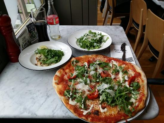 Pizza Express: Pizza Rustichella, Rucola Salad and Risotto as a starter.