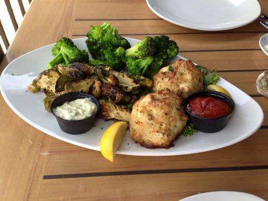 RockBass Grill: Crab Cake Plate with Broccoli and Brussels Sprouts YUM