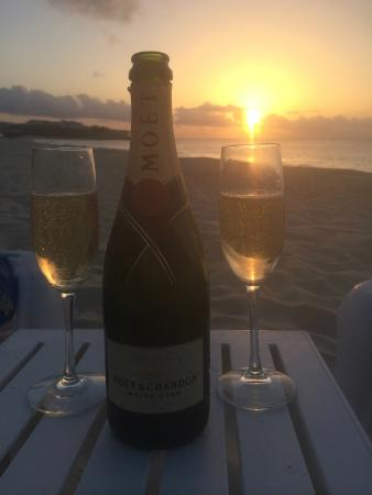 Meads Bay Beach Villas: Meads Bay Beach - MBBV Sunset with Moet