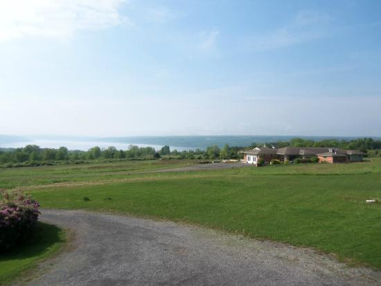 The Lakefront Inn: The villa to the right, Seneca Lake off in the distance.