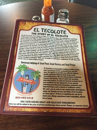 El Tecolote: The Menu