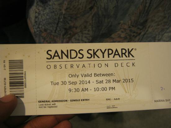 Ticket picture of marina bay sands skypark singapore tripadvisor for Marina bay sands swimming pool entrance fee
