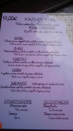 Sare, France : Menus