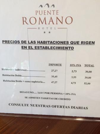 Hotel Puente Romano: PRECIOS RECEPCION ¡¡