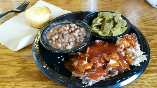 Biguns Barbeque: The Bugun plate with black eyed peas, green beans and cornbread. Best BBQ south of Ellijay.